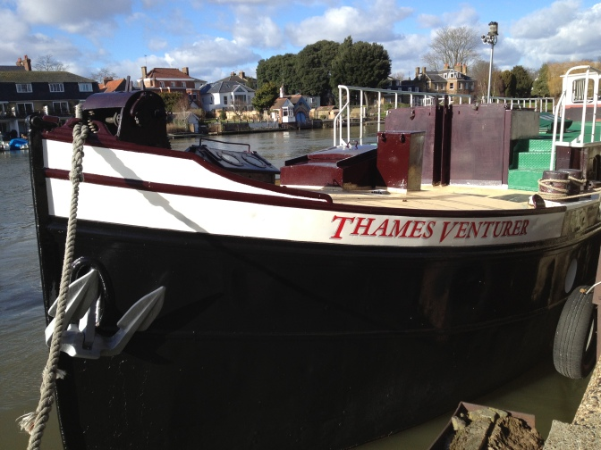 The Thames Venturer, a converted Dutch barge built in 1908 and now in use as a floating classroom and community boat.