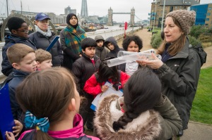 Gemma with Tower Hamlets school group at Hermitage Pier
